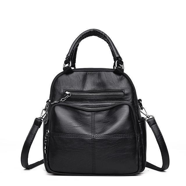 Black vegan leather convertible backpack purse
