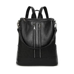 Black backpack purse leather for women