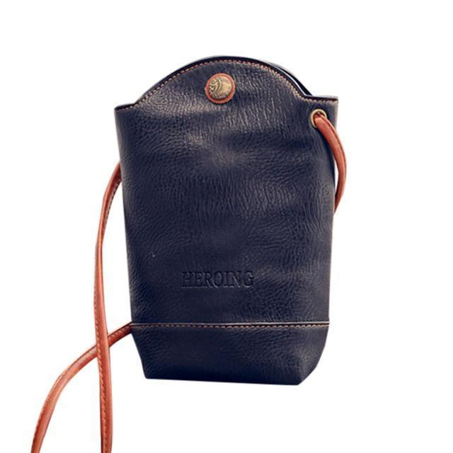 Small leather bucket crossbody bag, Black, Green, Orange, Red