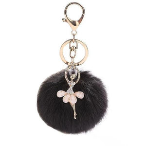 Black ballerina keychain with pompom