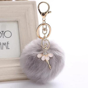 Cute pompom keychain with ballerina