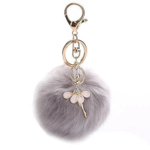 Gray ballerina keychain with pompom
