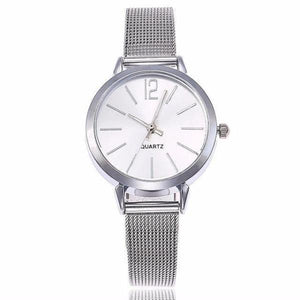 Silver white watches for women with mesh bracelet