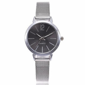 Silver black watches for women with mesh bracelet