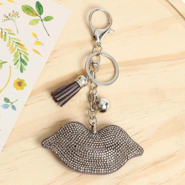Gray lips keychain with tassel