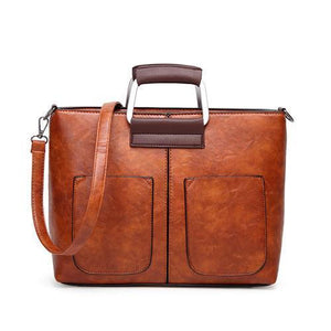 Brown small tote bags leather