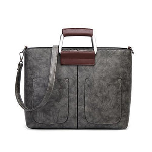 Gray small tote bags leather