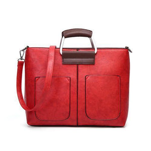 Red small tote bags leather