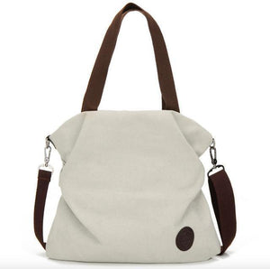 Beige canvas tote crossbody bag women