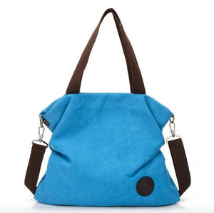 blue canvas tote crossbody bag women
