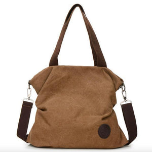 Coffe canvas tote crossbody bag women
