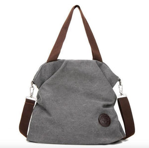 Grey canvas tote crossbody bag women