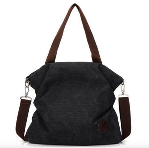 Black canvas tote crossbody bag women