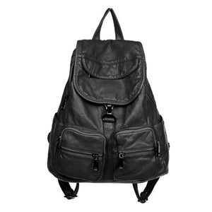 black Soft leather backpack womens
