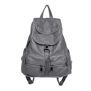 best gray leather backpack womens