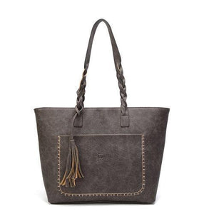 Gray leather tote bag with tassels