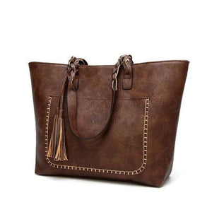 Coffe leather tote bag with tassels