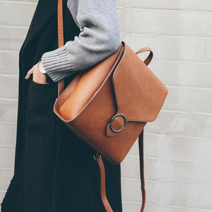 Brown retro leather backpack for women