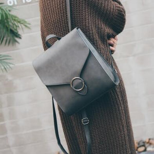 Gray retro leather backpack for women