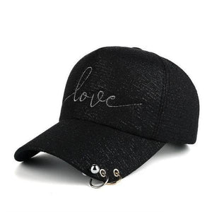 Black women's fashion baseball caps with piercing
