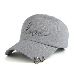 Gray women's fashion baseball caps with piercing