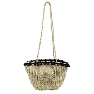 Beige beach straw bag with strap