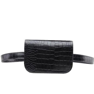 women black leather fanny pack fashion belt bag cute alligator waist pouch