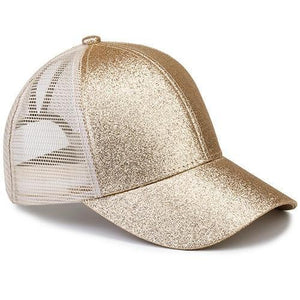 Champaign ponytail baseball cap with glitter