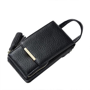 Black cell phone bag with crossbody chain strap