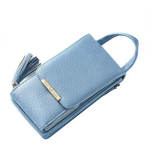 Blue cell phone bag with crossbody chain strap