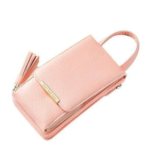 Pink cell phone bag with crossbody chain strap