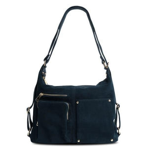 Blue backpack purse suede leather