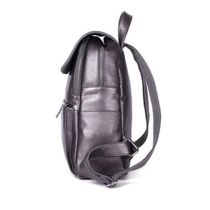 Leather backpack with double zipper