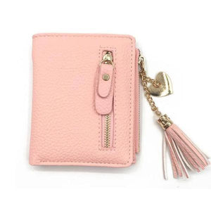 Pink leather wallets for women with tassel