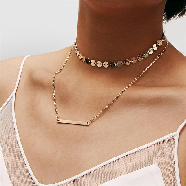 Horizontal bar necklace with coins choker