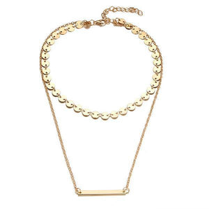 Gold Horizontal bar necklace with coins choker