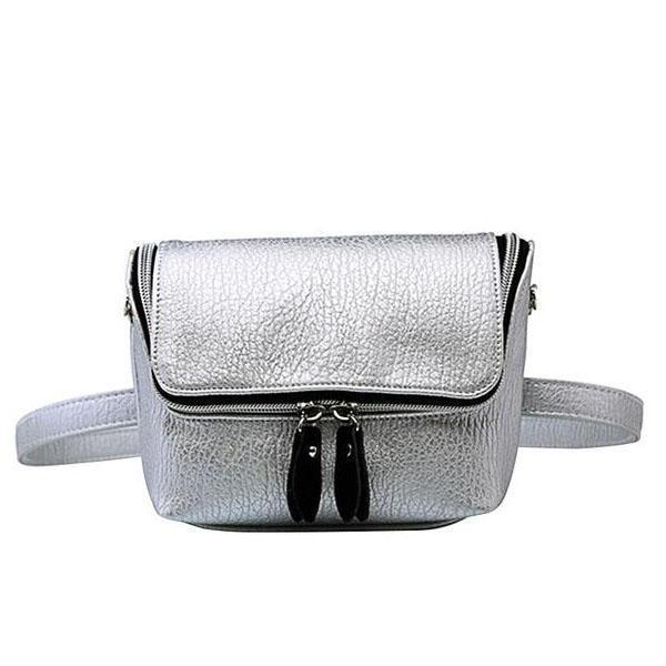 Silver Convertible fanny pack purse with shoulder strap