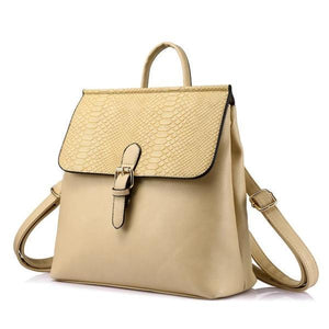 Beige Convertible leather backpack tote