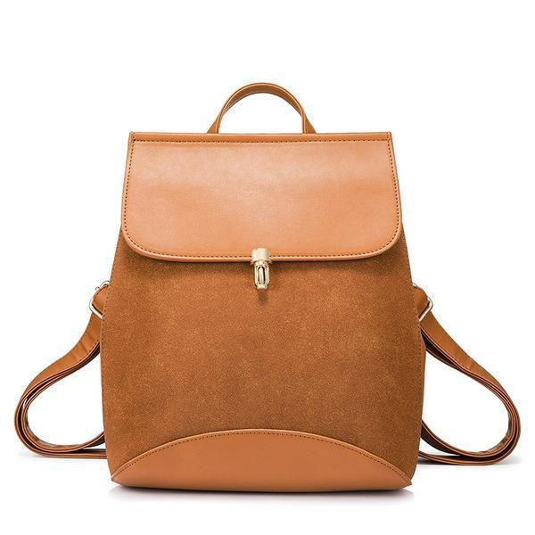 Brown leather backpack with convertible shoulder strap