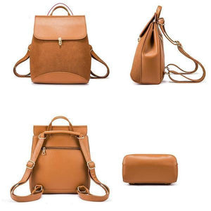 Transformable brown leather backpack purse