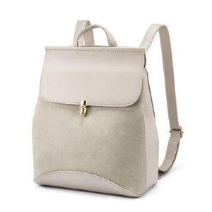 Gray Leather backpack with convertible shoulder strap