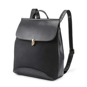 Black Leather backpack with convertible shoulder strap