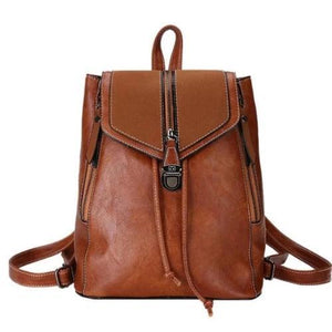 Brown leather convertible backpack purse with crossbody strap