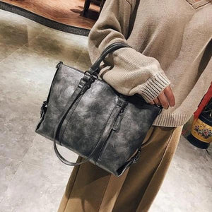 Gray crossbody tote bag leather