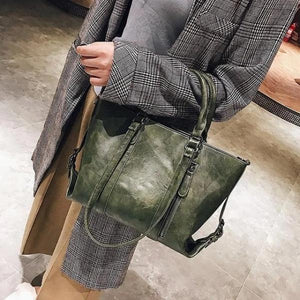 Green crossbody tote bag leather