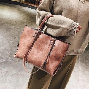 Pink crossbody tote bag leather