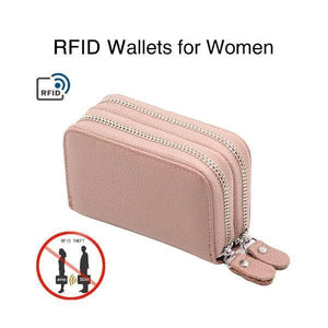 RFID Double Zipper Multifunctional Wallet for Women