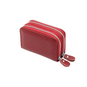 Red RFID credit card small wallet womens