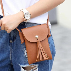 Brown tassel cell phone crossbody bag