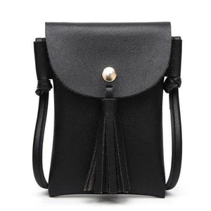 Black leather crossbody phone bag with tassel